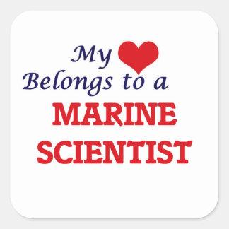 My heart belongs to a Marine Scientist Square Sticker