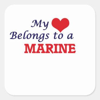 My heart belongs to a Marine Square Sticker