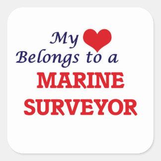 My heart belongs to a Marine Surveyor Square Sticker