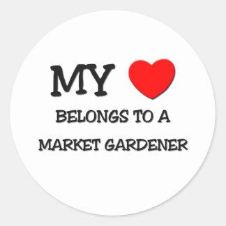 My Heart Belongs To A MARKET GARDENER Round Sticker
