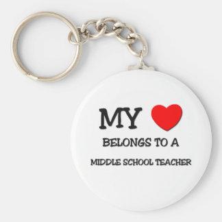 My Heart Belongs To A MIDDLE SCHOOL TEACHER Keychains