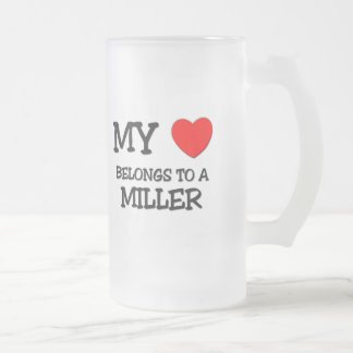 My Heart Belongs To A MILLER Frosted Glass Beer Mug