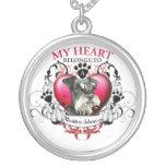 My Heart Belongs to a Miniature Schnauzer Round Pendant Necklace