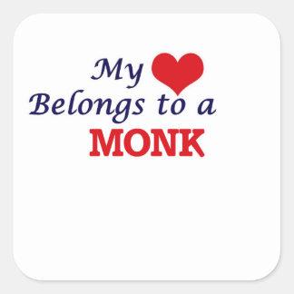 My heart belongs to a Monk Square Sticker