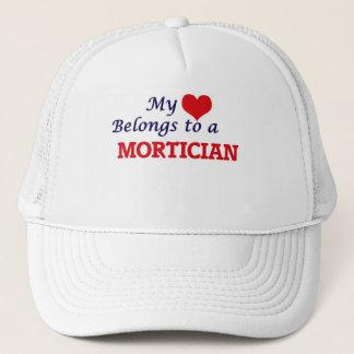 My heart belongs to a Mortician Trucker Hat