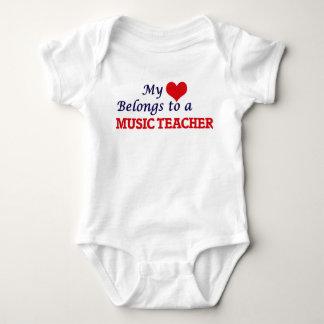My heart belongs to a Music Teacher Baby Bodysuit