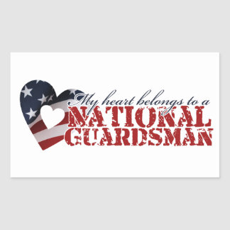 My heart belongs to a National Guardsman Rectangular Sticker
