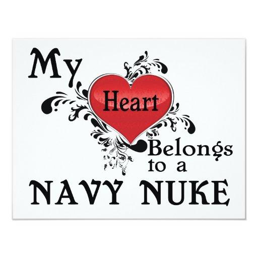 My Heart Belongs to a Navy Nuke 4.25x5.5 Paper Invitation Card