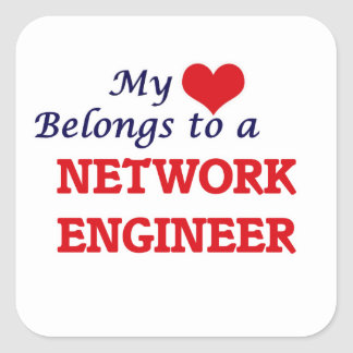 My heart belongs to a Network Engineer Square Sticker