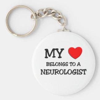 My Heart Belongs To A NEUROLOGIST Basic Round Button Keychain
