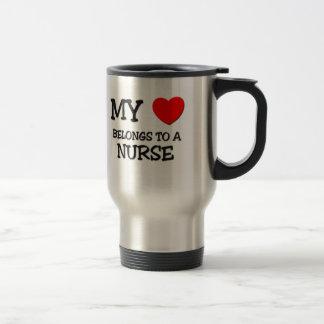 My Heart Belongs To A NURSE 15 Oz Stainless Steel Travel Mug