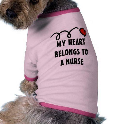 My heart belongs to a nurse dog shirt