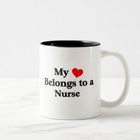 My Heart belongs to a Nurse Two-Tone Coffee Mug