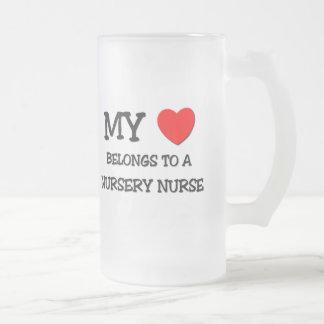 My Heart Belongs To A NURSERY NURSE 16 Oz Frosted Glass Beer Mug