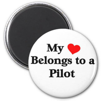 My heart belongs to a Pilot 2 Inch Round Magnet