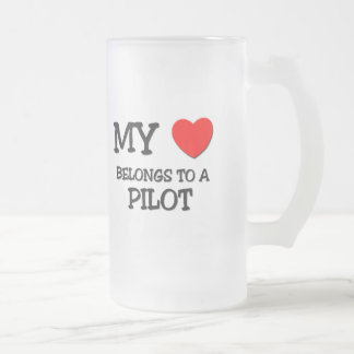 My Heart Belongs To A PILOT Frosted Glass Beer Mug