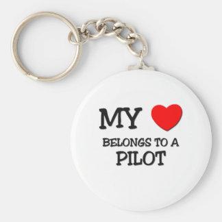 My Heart Belongs To A PILOT Keychains