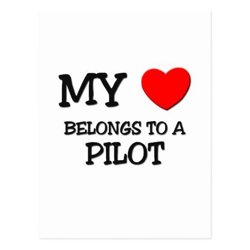 My Heart Belongs To A PILOT Postcard