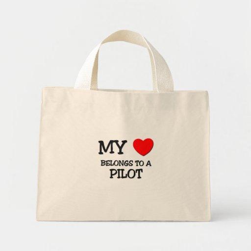 My Heart Belongs To A PILOT Tote Bags