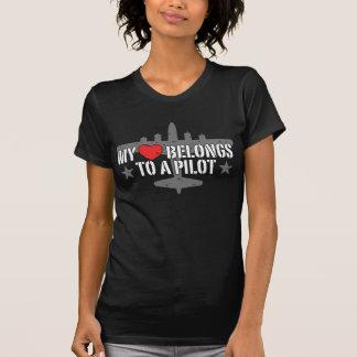 My Heart Belongs To A Pilot T Shirt
