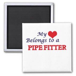 My heart belongs to a Pipe Fitter 2 Inch Square Magnet