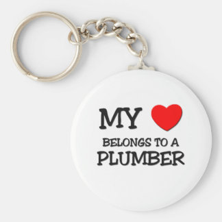 My Heart Belongs To A PLUMBER Basic Round Button Keychain
