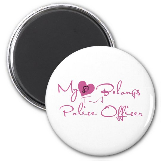 My Heart Belongs to a Police Officer 2 Inch Round Magnet