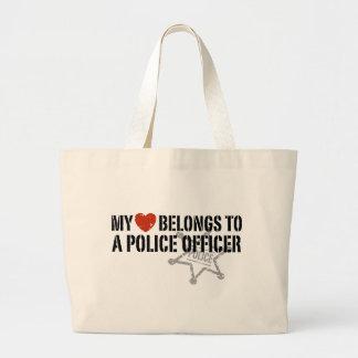 My Heart Belongs to a Policeman Large Tote Bag