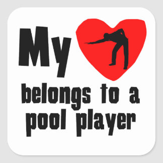My Heart Belongs To A Pool Player Square Stickers
