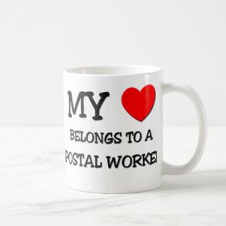My Heart Belongs To A POSTAL WORKER Classic White Coffee Mug