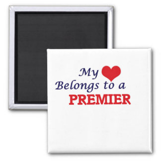 My heart belongs to a Premier 2 Inch Square Magnet