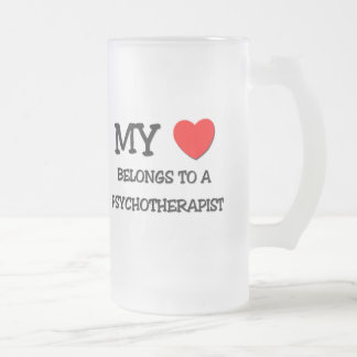 My Heart Belongs To A PSYCHOTHERAPIST Frosted Glass Beer Mug