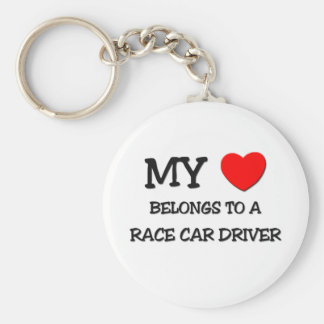 My Heart Belongs To A RACE CAR DRIVER Basic Round Button Keychain