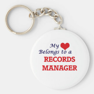 My heart belongs to a Records Manager Keychain
