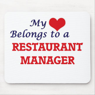 My heart belongs to a Restaurant Manager Mouse Pad