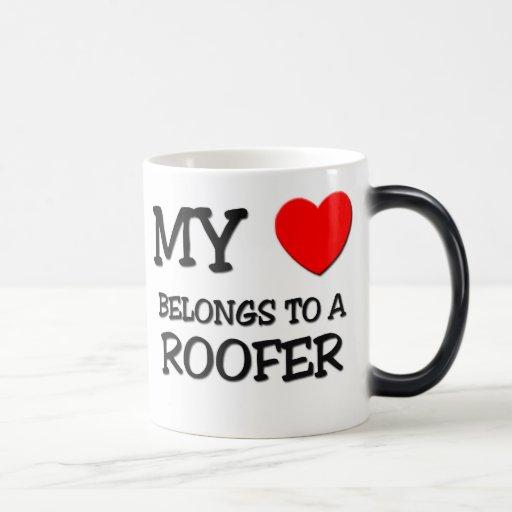 My Heart Belongs To A ROOFER 11 Oz Magic Heat Color-Changing Coffee Mug