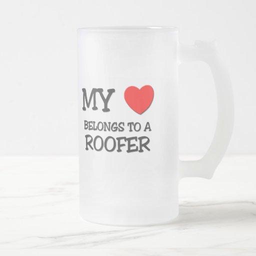 My Heart Belongs To A ROOFER Mugs