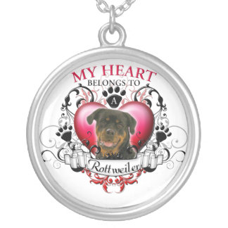 My Heart Belongs to a Rottweiler Round Pendant Necklace
