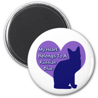 My Heart Belongs to a Russian Blue 2 Inch Round Magnet