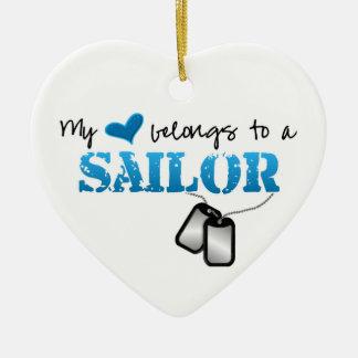 My heart belongs to a Sailor Ceramic Ornament