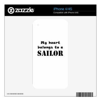 My Heart Belongs to a Sailor iPhone 4 Decal
