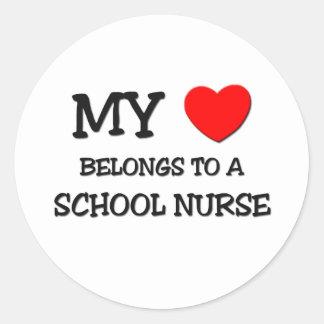 My Heart Belongs To A SCHOOL NURSE Classic Round Sticker
