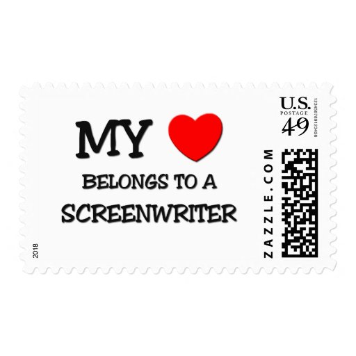 My Heart Belongs To A SCREENWRITER Postage Stamps