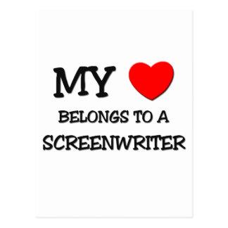 My Heart Belongs To A SCREENWRITER Postcard