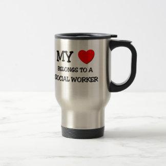 My Heart Belongs To A SOCIAL WORKER 15 Oz Stainless Steel Travel Mug