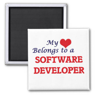 My heart belongs to a Software Developer 2 Inch Square Magnet