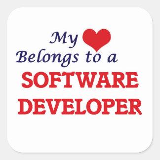 My heart belongs to a Software Developer Square Sticker