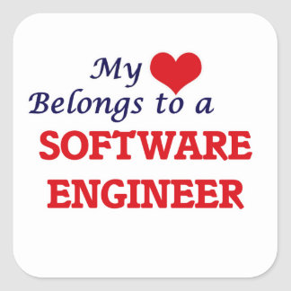My heart belongs to a Software Engineer Square Sticker