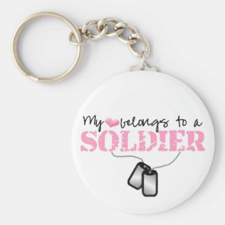 My Heart Belongs To A Soldier Basic Round Button Keychain
