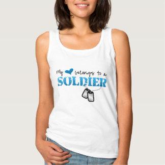 My Heart Belongs To A Soldier Basic Tank Top